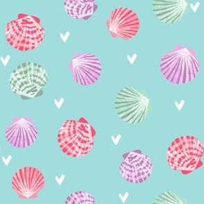 seashells fabric // girls mermaid sea shell design - pink on blue