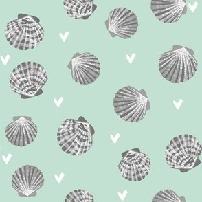 seashells fabric // girls mermaid sea shell design - grey and mint