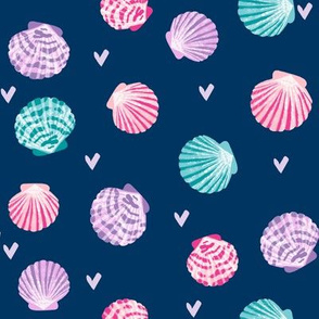 seashells fabric // girls mermaid sea shell design - pink turquoise and purple on navy