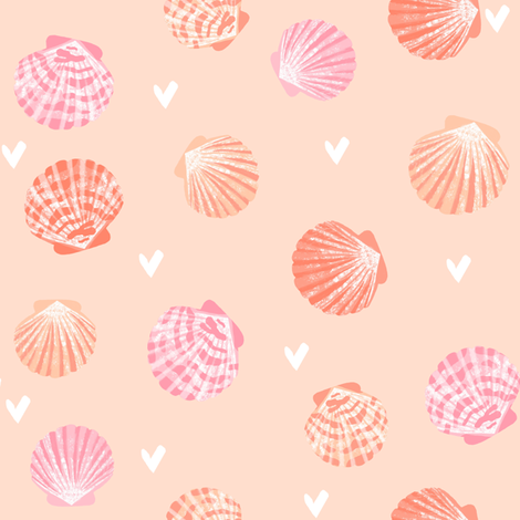 seashells fabric // girls mermaid sea shell design - pink and coral on peach fabric by andrea_lauren on Spoonflower - custom fabric