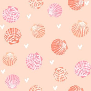 seashells fabric // girls mermaid sea shell design - pink and coral on peach