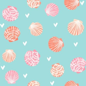 seashells fabric // girls mermaid sea shell design - peach on blue