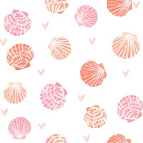 seashells fabric // girls mermaid sea shell design - pink coral and peach