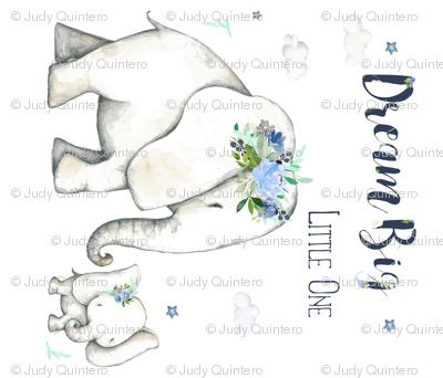 "42""x36"" Dream Big Little One / Floral Elephant"