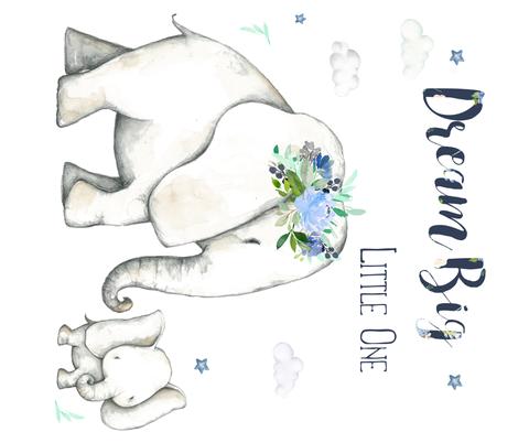 "42""x36"" Dream Big Little One / Floral Elephant fabric by shopcabin on Spoonflower - custom fabric"