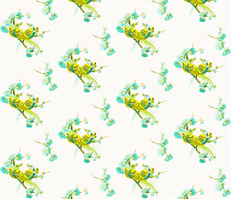 Vintage birds and Floral Mint and Yellow fabric by vintagegreenlimited on Spoonflower - custom fabric