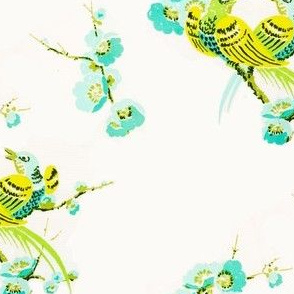 Vintage birds and Floral Mint and Yellow