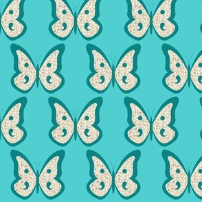 Teal Pearl Butterfly on Aqua
