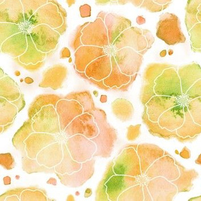Watercolor Peachy Flowers