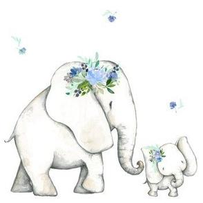 Floral Blue Elephant