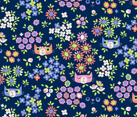 Peeping Toms (at night, largescale) fabric by cerigwen on Spoonflower - custom fabric