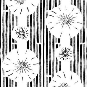 Abstract Hand Drawn Dandelion Brush Stroke Stripes