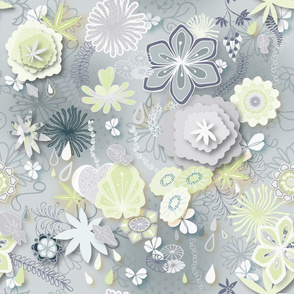 Scattered Paper-cut Effect Florals Pattern on Grey