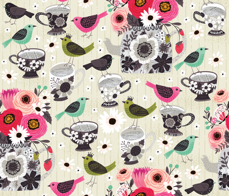 Having the Birds Over For Tea fabric by cynthiafrenette on Spoonflower - custom fabric