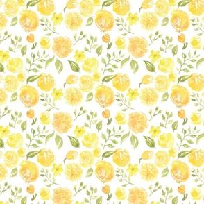 Citrus Yellow Floral Watercolour