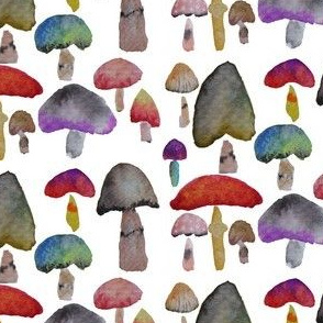 Watercolor Mushrooms - Brights