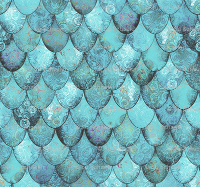 Silver + Light Teal Mermaid or Dragon Scales by Su_G