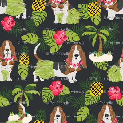 basset hound hula fabric dog tropical summer design - dark charcoal