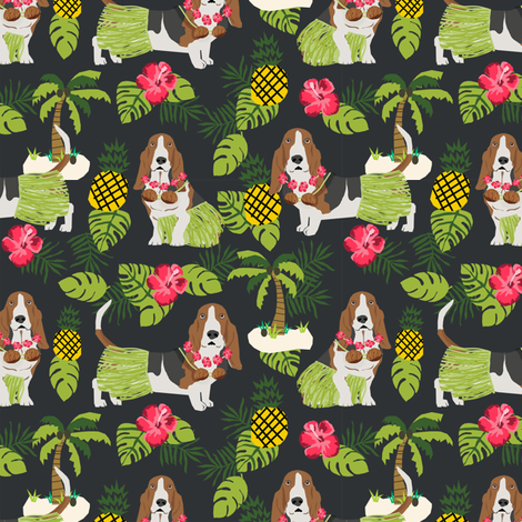 basset hound hula fabric dog tropical summer design - dark charcoal fabric by petfriendly on Spoonflower - custom fabric