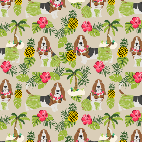 basset hound hula fabric dog tropical summer design - sand fabric by petfriendly on Spoonflower - custom fabric