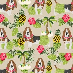 basset hound hula fabric dog tropical summer design - sand