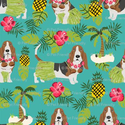 basset hound hula fabric dog tropical summer design - turquoise