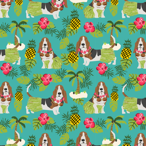 basset hound hula fabric dog tropical summer design - turquoise fabric by petfriendly on Spoonflower - custom fabric