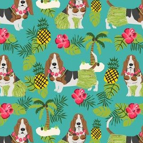 basset hound hula fabric dog tropical summer design - turquoise