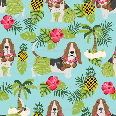 basset hound hula fabric dog tropical summer design - light blue
