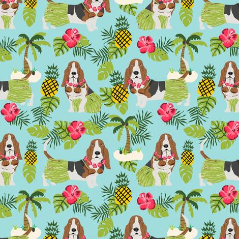 basset hound hula fabric dog tropical summer design - light blue fabric by petfriendly on Spoonflower - custom fabric