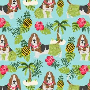 basset hound hula fabric dog tropical summer design - light blue