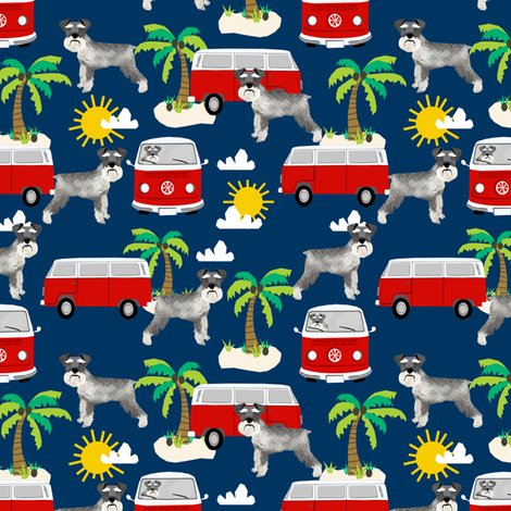 schnauzer fabric dog palm trees summer fabric dog design - navy fabric by petfriendly on Spoonflower - custom fabric
