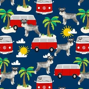 schnauzer fabric dog palm trees summer fabric dog design - navy