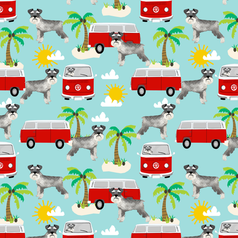 schnauzer fabric dog palm trees summer fabric dog design - light blue fabric by petfriendly on Spoonflower - custom fabric