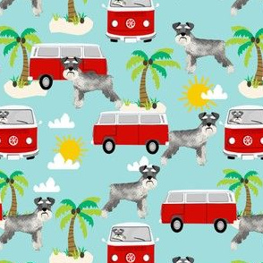 schnauzer fabric dog palm trees summer fabric dog design - light blue