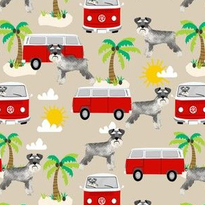 schnauzer fabric dog palm trees summer fabric dog design - sand