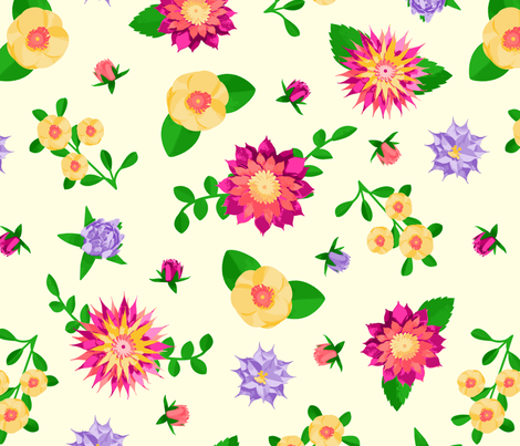 Paper Blooms fabric by moonpuff on Spoonflower - custom fabric