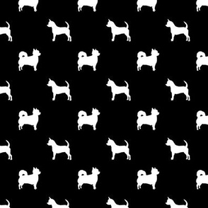 chihuahua silhouette fabric - long and short haired dog silhouette fabric - black