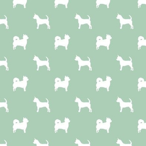 chihuahua silhouette fabric - long and short haired dog silhouette fabric - mint