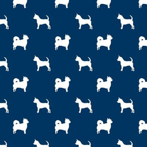chihuahua silhouette fabric - long and short haired dog silhouette fabric - navy