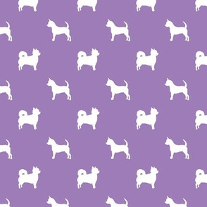 chihuahua silhouette fabric - long and short haired dog silhouette fabric - purple