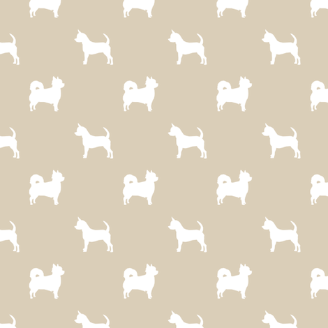 chihuahua silhouette fabric - long and short haired dog silhouette fabric - sand fabric by petfriendly on Spoonflower - custom fabric