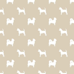 chihuahua silhouette fabric - long and short haired dog silhouette fabric - sand