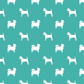 chihuahua silhouette fabric - long and short haired dog silhouette fabric - turquoise