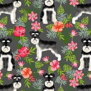 schnauzer fabric hawaiian summer tropical monstera leaves - charcoal