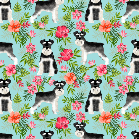schnauzer fabric hawaiian summer tropical monstera leaves - light blue fabric by petfriendly on Spoonflower - custom fabric
