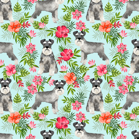 schnauzer fabric hawaiian summer tropical monstera leaves - light blue fabric by petfriendly on Spoonflower - custom fabric