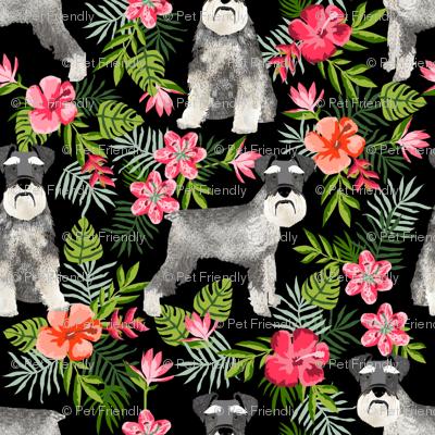 schnauzer fabric hawaiian summer tropical monstera leaves - black
