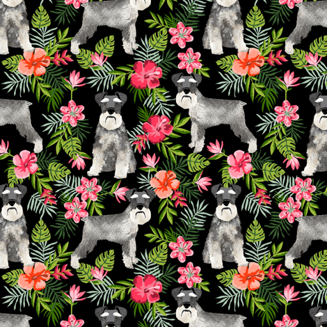 schnauzer fabric hawaiian summer tropical monstera leaves - black fabric by petfriendly on Spoonflower - custom fabric
