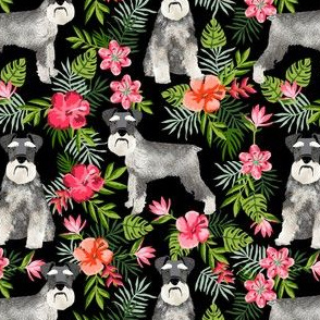 schnauzer fabric hawaiian summer tropical monstera leaves - black